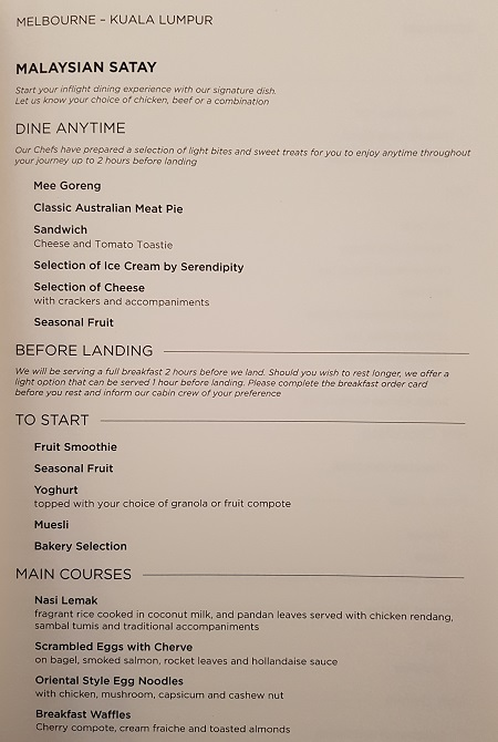 GenX Live Travel Report Malaysia Airlines Business Class Melbourne to Kuala Lumpur Food and Drinks Menu 1