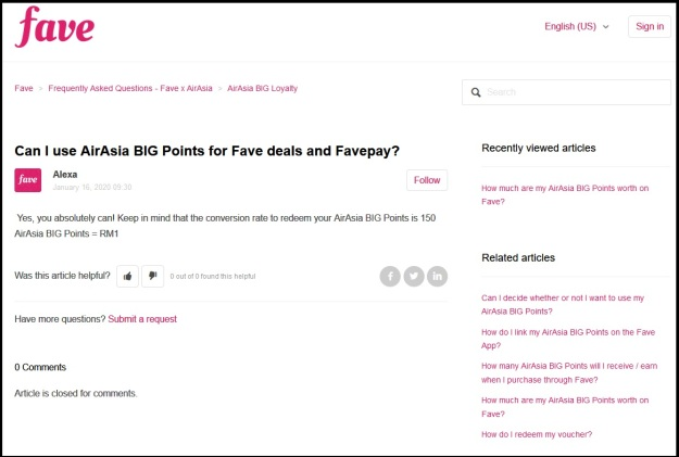 Converting AirAsia Big Points To Cash with Fave