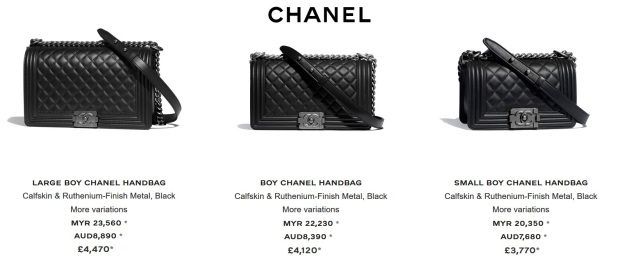 Chanel Boy Large Mid Small Handbag Prices UK Australia and Malaysia