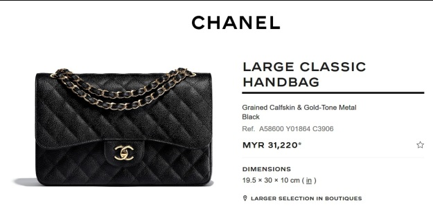 Chanel Large Classic Flap Black Handbag Malaysia Price