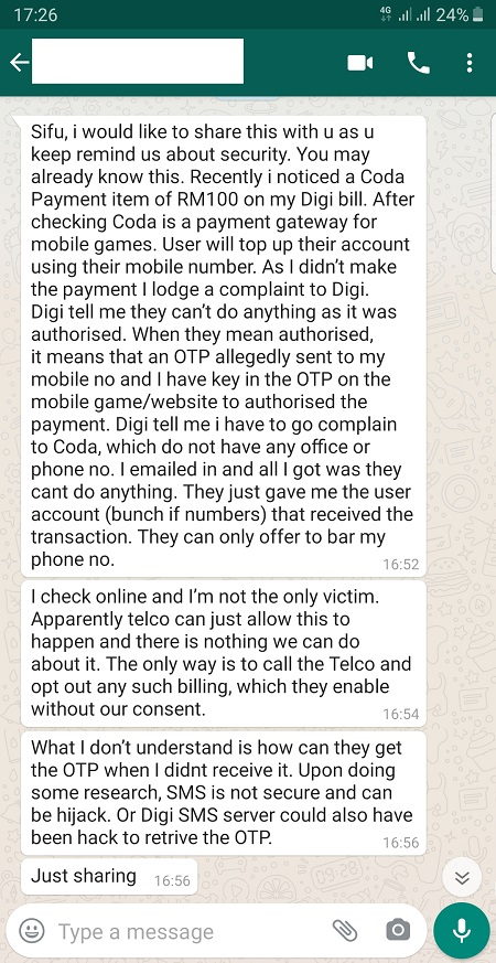 Coda DiGi Fraud