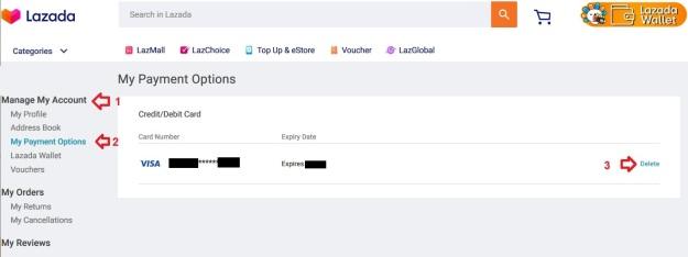 Lazada Online Shopping Save Card Delete