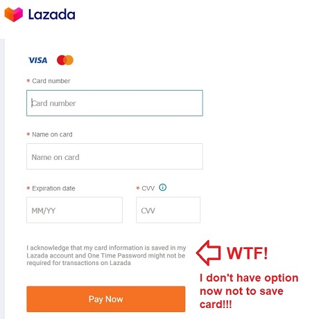 Lazada Save Card Option