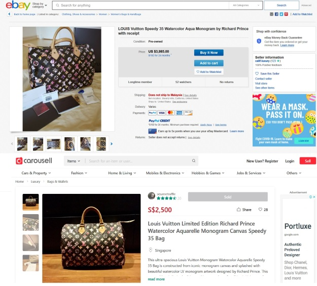 Louis Vuitton Limited Edition Richard Prince Watercolor Aquarelle Monogram Canvas Speedy 35 Bag for sale