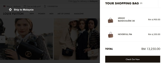 Louis Vuitton Official Handbag Prices Online Ship to Malaysia