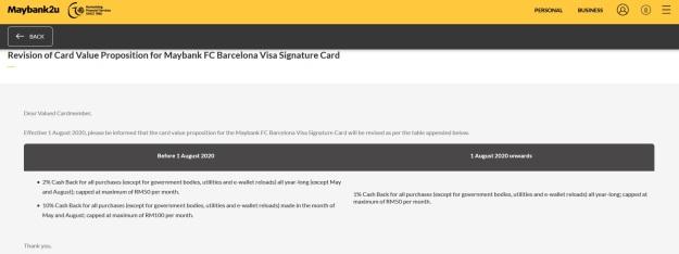 Maybank FC Barcelona Visa Signature Cash Back Revision 2020 Announcement