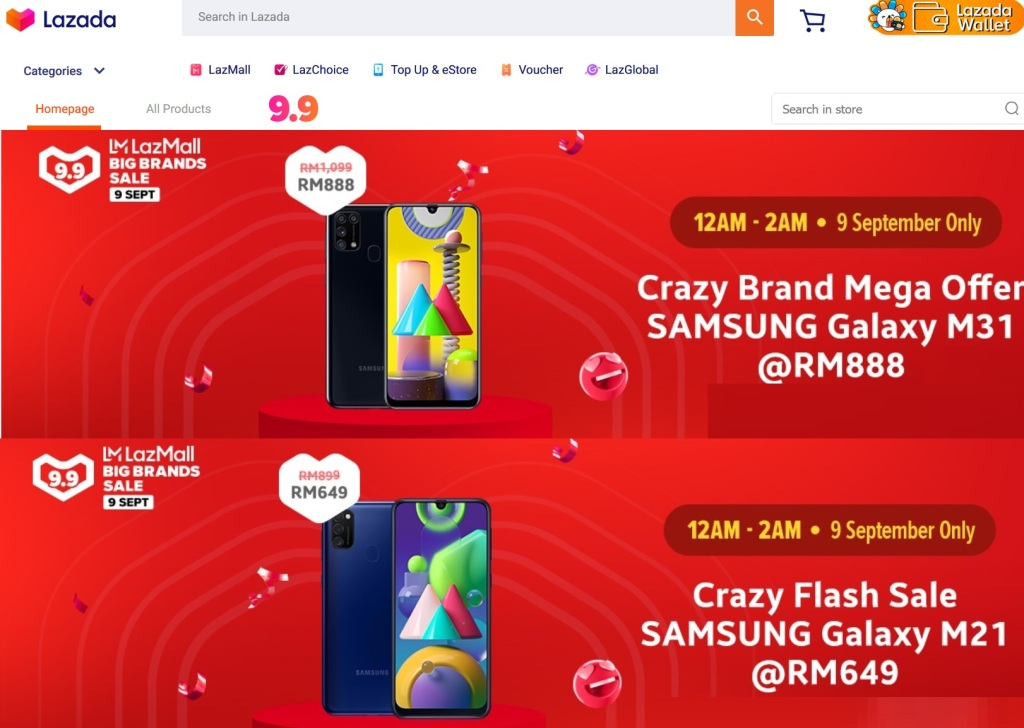 This image has an empty alt attribute; its file name is lazada-samsung-m31-flash-sale.jpg