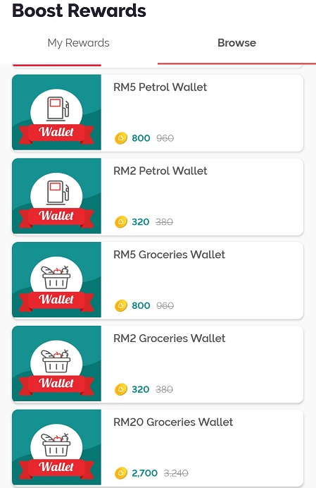Boost Coins Can Redeem for what Petrol and Groceries